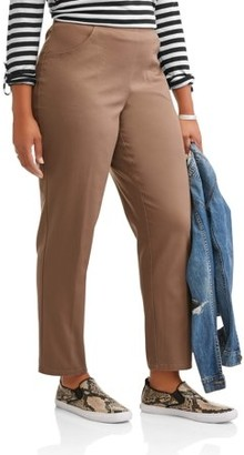 Just My Size Women's Plus-Size 2-Pocket Pull-On Stretch Woven Pants, Available in Regular and Petite Lengths