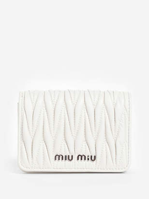 Miu Miu WOMEN'S WHITE MATELASSE MICRO POUCH WITH CRYSTAL CHAIN STRAP