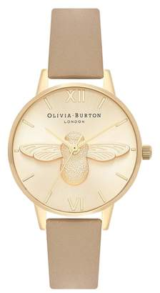 Olivia Burton Bee Leather Strap Watch, 30mm