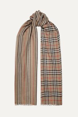 Burberry Printed Wool And Silk-blend Scarf - Beige