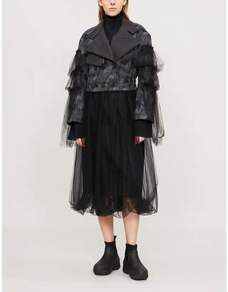 QUETSCHE Tulle-sleeve wool-blend jacket
