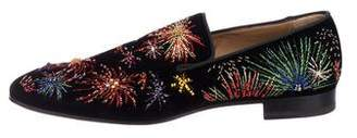 Christian Louboutin Velvet Embellished Smoking Slippers