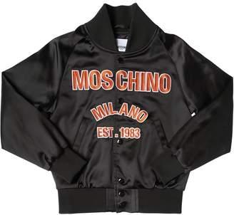 Moschino Embroidered Nylon Satin Bomber Jacket