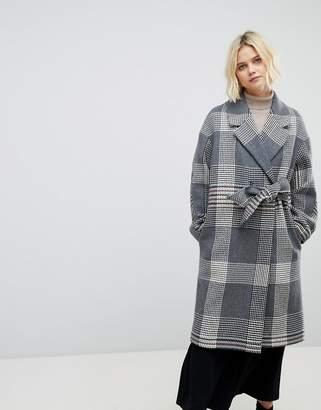 Whistles Check Wrap Oversized Coat