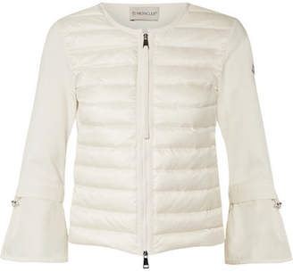 Moncler Quilted Shell And Knitted Cotton Down Cardigan - Off-white