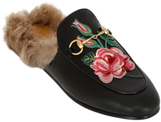 10mm Princetown Rose Leather & Fur Mules $995 thestylecure.com