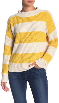 Woven Heart Chenille Striped Mock Neck Sweater