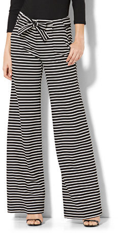 7th Avenue Pant - Wide-Leg - Black & White Stripe - Tall
