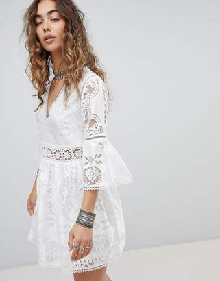 Kiss The Sky Lace & Jaquard Dress