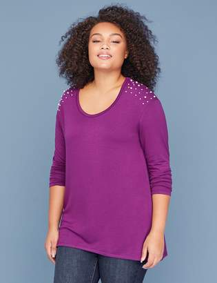 Faux Pearl-Shoulder French Terry Tee