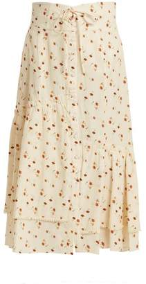 Sea - Margaux Floral Print Ruffled Cotton Midi Skirt - Womens - Ivory Multi