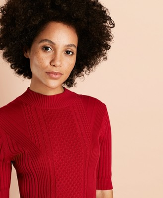 Brooks Brothers Cable-Knit Cotton Mockneck Sweater