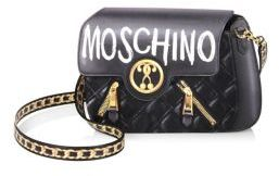 Moschino Moschino Logo-Print Leather Shoulder Bag