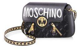 MoschinoMoschino Logo-Print Leather Shoulder Bag