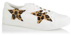 George White Leopard Print Star Trainers