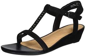 Clarks Women's Parram Blanc Wedge Heels Sandals Black Suede