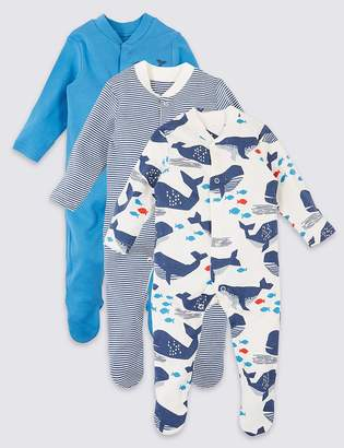 Marks and Spencer 3 Pack Organic Cotton Whale Sleepsuits