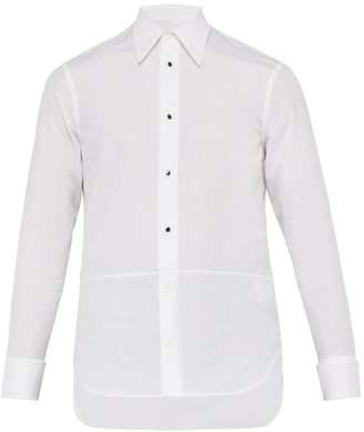 Maison Margiela Overlap Button Tuxedo Cotton Shirt - Mens - White