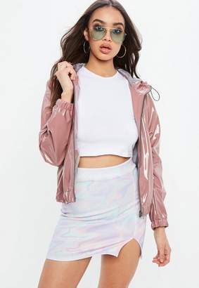 Missguided Pink High Shine Crop Rain Mac Hooded Jacket