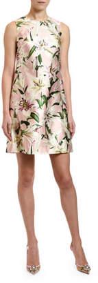 Dolce & Gabbana Lily Print Silk Shantung Shift Dress