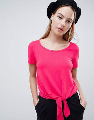 Only Ena Bow Front Crop T-shirt