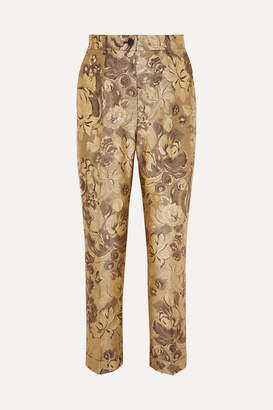 Dolce & Gabbana Metallic Brocade Straight-leg Pants - Gold