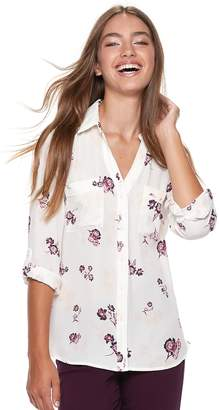 Candies Juniors' Candie's? Piped Roll-Tab Blouse