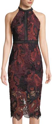Alexia Admor Floral-Lace Halter-Neck Midi Dress
