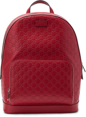 57df2e13a31 Pre-Owned at StockX · Gucci Signature Backpack Monogram GG Front Zipper  Pocket Embossed Hibiscus Red