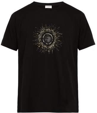 Saint Laurent Sequin Embellished Sun Print Cotton T Shirt - Mens - Black