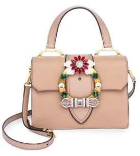 Miu Miu Crystal-Embellished Leather Top Handle Bag