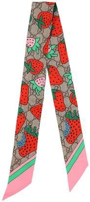 Gucci Gg Cherry Printed Silk Scarf