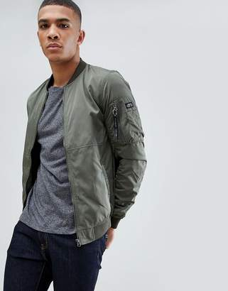 Pull&Bear Bomber Jacket In Green