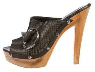 Gucci Snakeskin Horsebit Slide Sandals