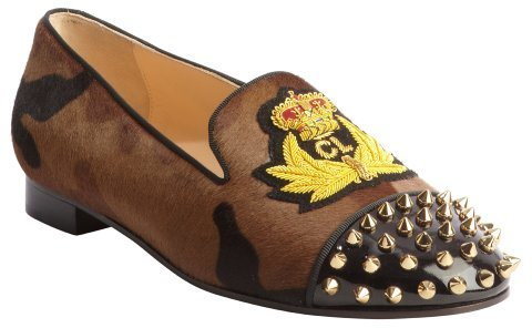 Christian Louboutin tan leopard 'Intern' spiked calf hair loafers