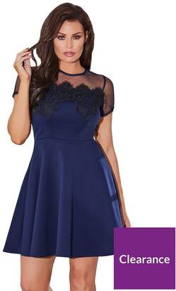Jessica Wright Cleide Contrast Lace Skater Dress - Navy