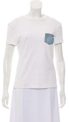 Helmut Lang Bateau-Neck Denim-Pocket T-Shirt