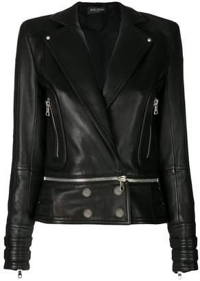 Balmain button-embellished leather jacket