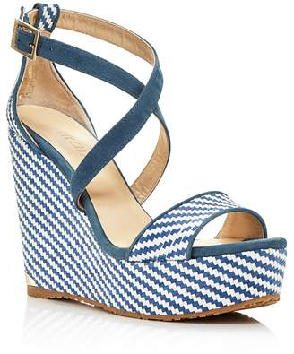 Jimmy Choo Women's Portia 120 Striped Platform Wedge Sandals