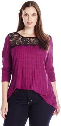 NY Collection Women's Plus Size Long Sleeve Scoop Neck Shartbite Top with Lace Yoke