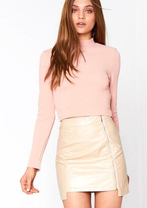 Missy Empire Missyempire Sienna Beige Leather Mini Skirt