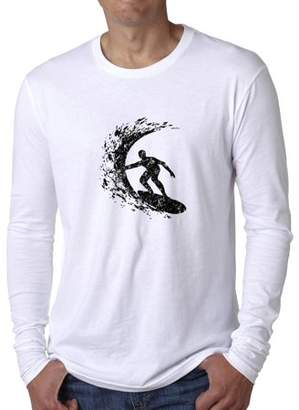 Hollywood Thread Trendy Surfer Surfing Big Wave Tube Stencil Drawing Men's Long Sleeve T-Shirt
