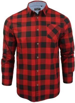 Brave Soul Mens Jack Checked Check Long Sleeve Cotton Lumberjack Shirt Rd - M