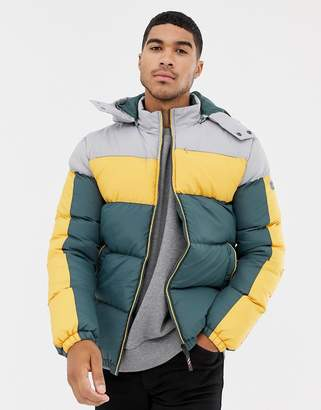 Soul Star Color Block Puffer Jacket with Hood
