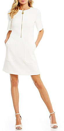 DKNY DKNY Zip-Front Shift Dress