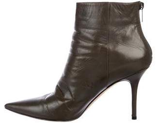 Jimmy Choo Leather Pointed-Toe Ankle Boots