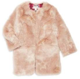 Hatley Little Girl's& Girl's Stars Faux Fur Coat