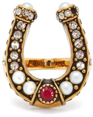 Alexander McQueen Faux Pearl And Crystal Embellished Horseshoe Ring - Womens - Gold