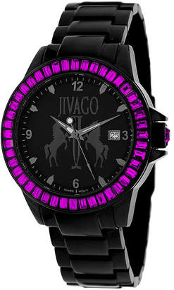Jivago Womens Folie Black & Pink Bracelet Watch