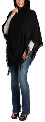 24seven Comfort Apparel Women's Hooded Fringed Poncho Sweater